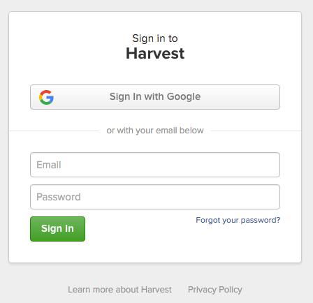Harvest_login
